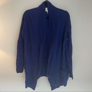 Qi Cashmere Blue Open Front Cardigan Sweater Large